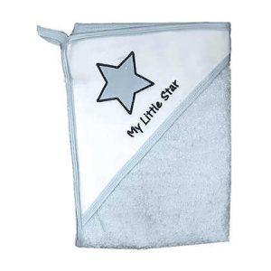 מגבת חיבוקי עם קפוצ'ון עבה וגדולה במיוחד – כוכב קטן שלי תכלת