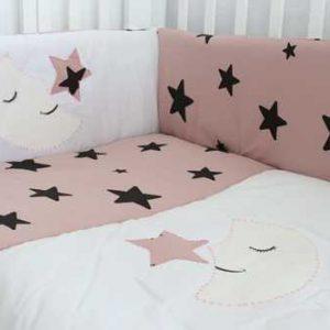 סט מיטה לתינוק ירח כוכבים ורוד עתיק