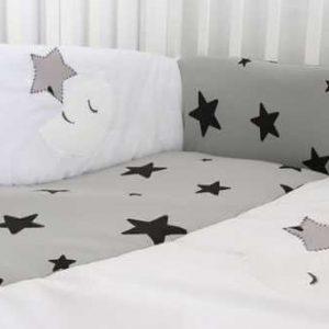 סט מיטת תינוק ירח כוכבים אפור