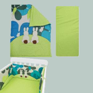 """סט מיטת תינוק סט מצעים """"toTs"""" ארנב ירוק"""