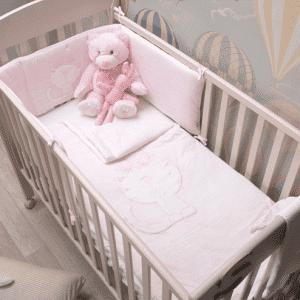 """סט מיטת תינוק סט מצעים """"toTs"""" ורוד מלאנג'"""