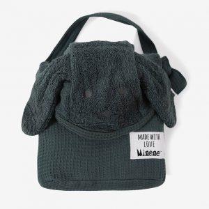 מגבת עם קשירה לצוואר מיננה אפור/ירוק