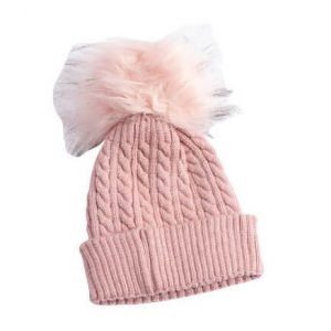 כובע פונפון לתינוק צבע ורוד