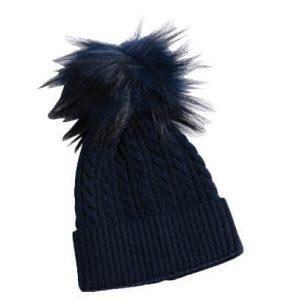 כובע פונפון לתינוק צבע כחול כהה