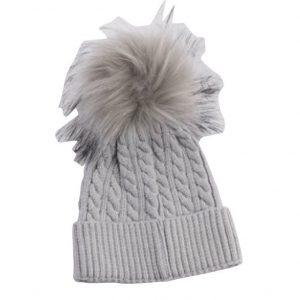 כובע פונפון לתינוק צבע אפור