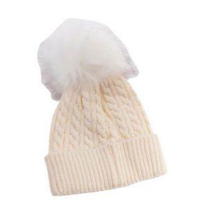 כובע פונפון לתינוק צבע שמנת