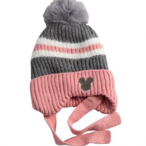 כובע מיקי פסים ורוד אפור