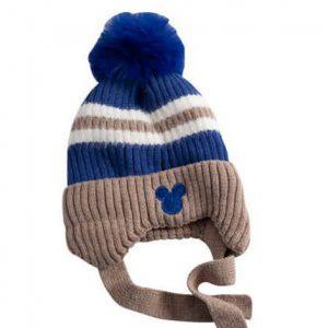 כובע מיקי פסים חום כחול